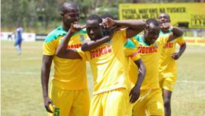 Cliff Nyakeya of Mathare United celebrates with teammates.