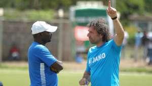 Gor Mahia Assistant coach Zedekiah Otieno and Hassan Oktay.