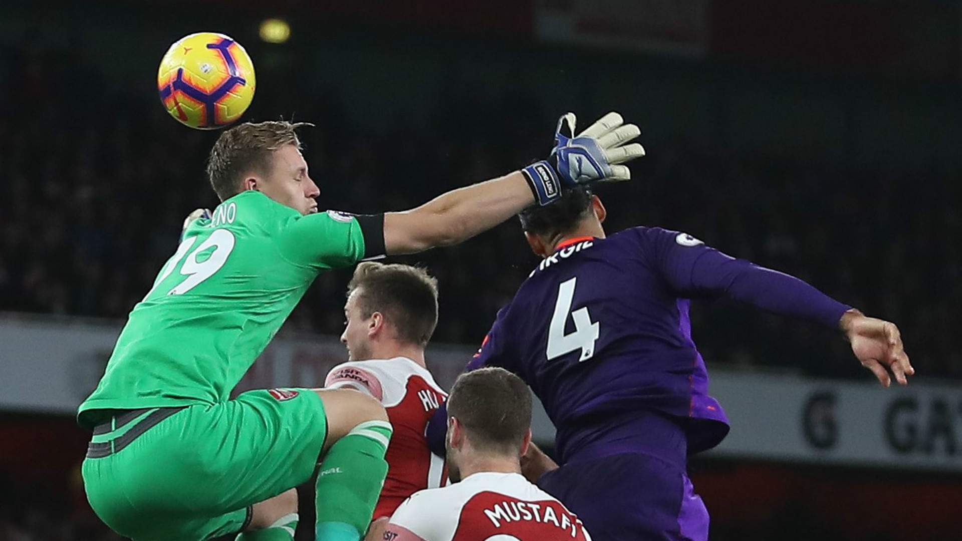 Bernd Leno Virgil van Dijk Arsenal Liverpool 2018-19