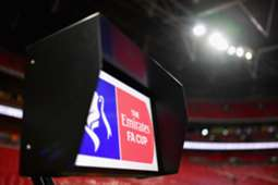 The VAR screen is seen pitchside prior to The Emirates FA Cup 2019