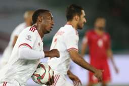 Ahmad Khalil after scoring UAE's goal against Bahrain