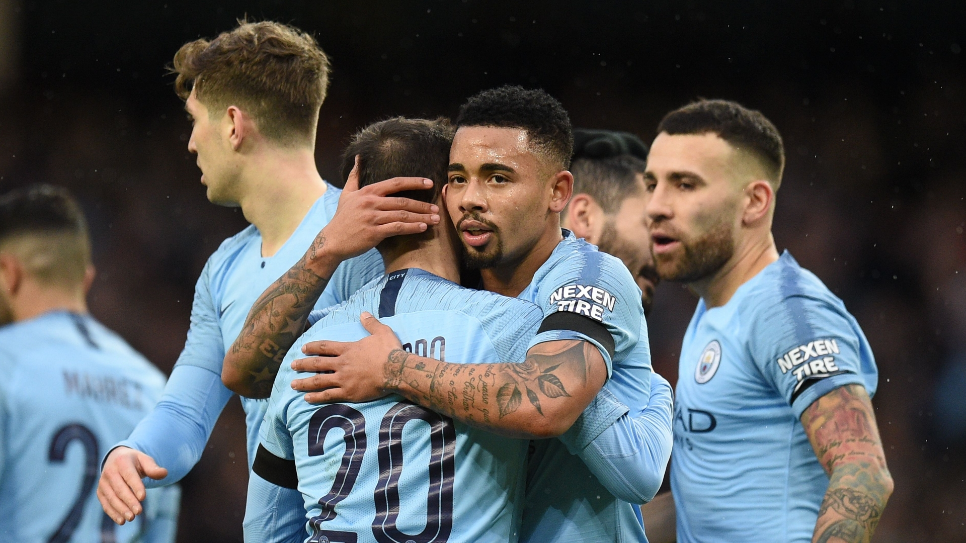 Manchester City celebrates against Burnley, FA Cup