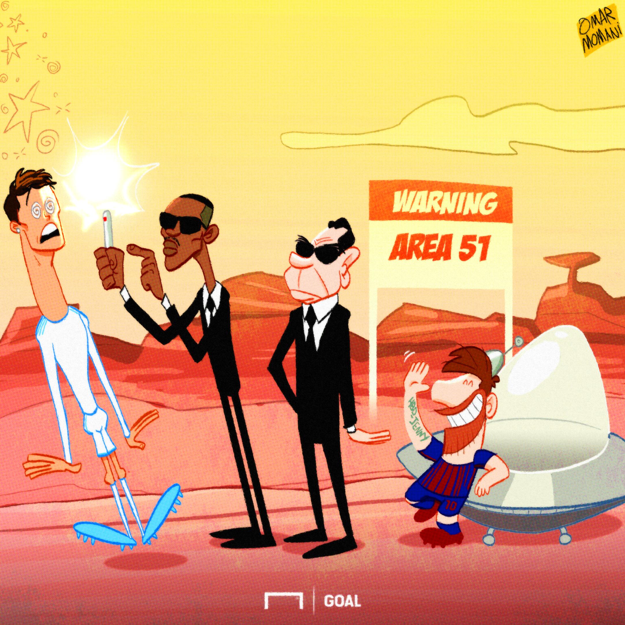 Lionel Messi alien Ronaldo cartoon
