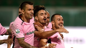 Palermo celebrating Palermo Spezia Serie B 08262017