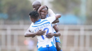 Alex Orotomal Michael Kibwage and Ezekiel Odera of AFC Leopards.