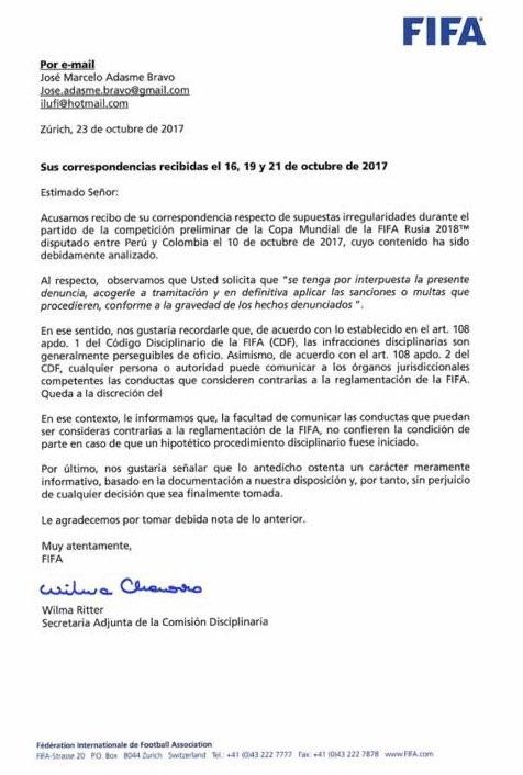 Carta FIFA Pacto de Lima Colombia Peru