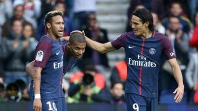 Kylian Mbappe, Neymar, Edinson Cavani PSG Ligue 1