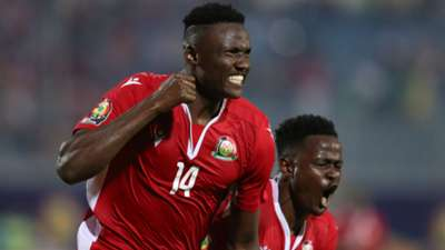 Michael Olunga of Kenya celebrates goal against Tanzania.