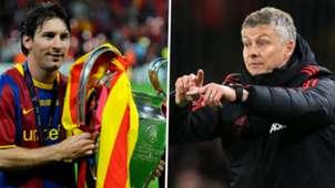 Lionel Messi Ole Gunnar Solskjaer Barcelona Man Utd