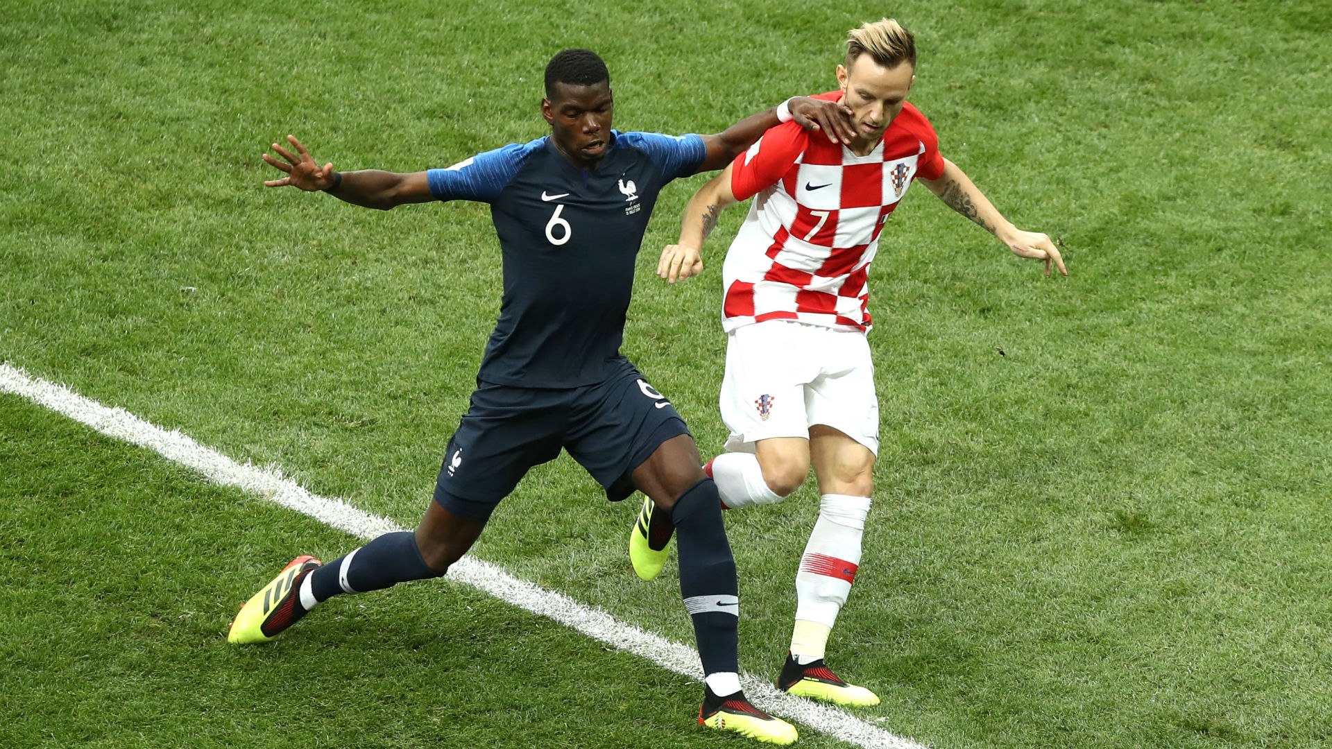 Paul Pogba Ivan Rakitic Croatia France World Cup final 2018