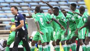 Gor Mahia coach Hassan Oktay celebrates with the players.