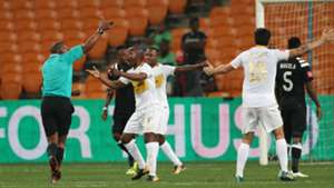 Thabo Nodada and Cape Town City players protest