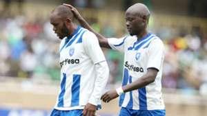 Whyvonne Isuza and Ezekiel Odera of AFC Leopards v Gor Mahia.