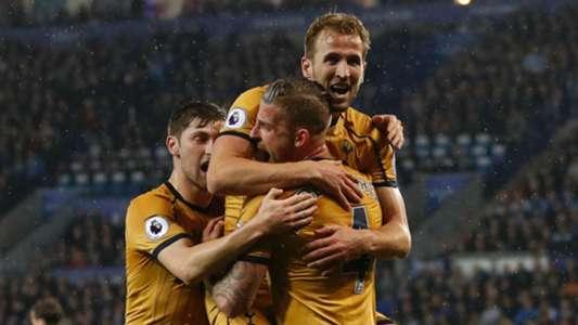 Tottenham celebrate v Leicester