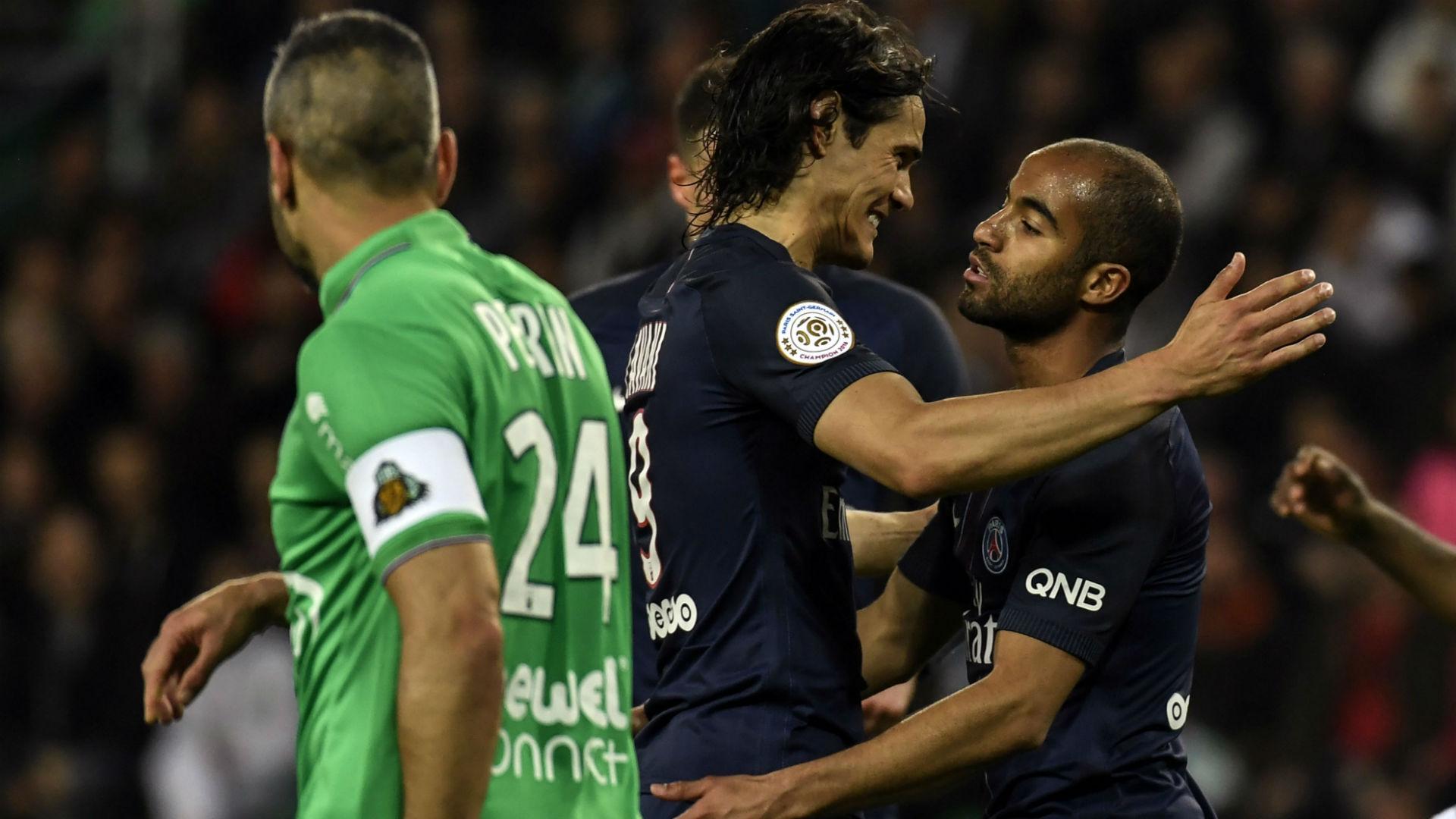 Lucas Moura Edinson Cavani Saint-Etienne PSG Ligue 1 14052017