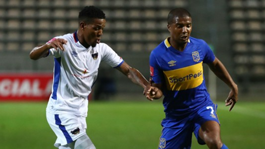 Lyle Lakay of Cape Town City evades challenge from Sizwe Mdlinzo of Chippa United