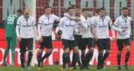 Atalanta players celebrating Milan Atalanta Serie A