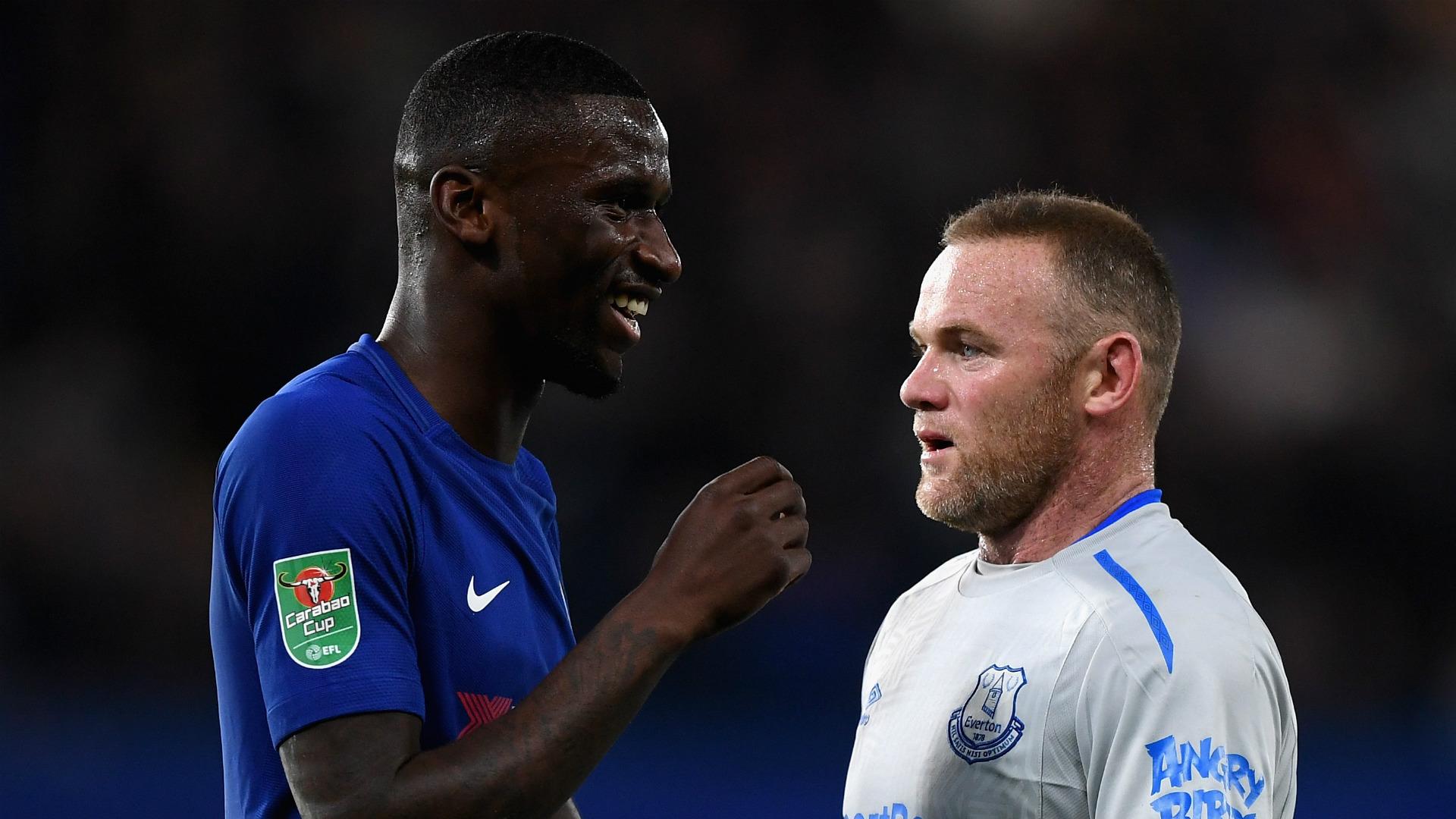 Antonio Rudiger Wayne Rooney Chelsea Everton 25102017