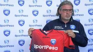AFC Leopards unveil coach Nicola Kavazovic.