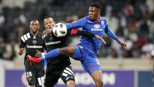 Evans Rusike of Supersport United challenges Happy Jele of Orlando Pirates, April 2018