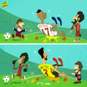 Salah and Messi cartoon march 18