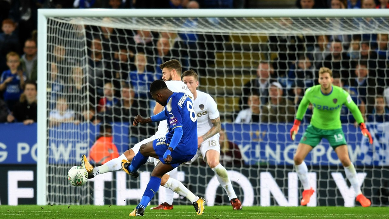 Image result for pic of iheanacho score for leicester against leeds