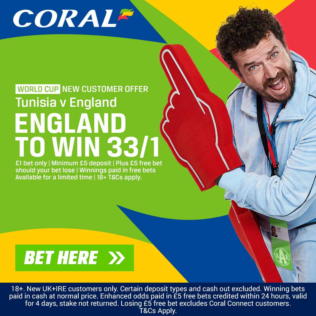 England v Tunisia Enhanced Odds: 33/1 on the Three Lions to