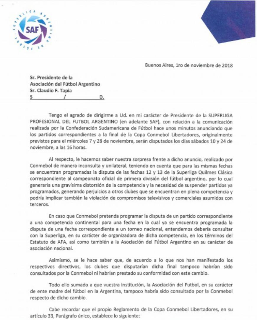 Carta Superliga Conmebol Libertadores 1