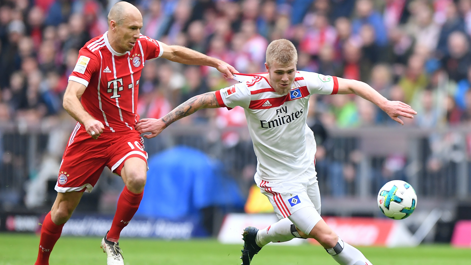 Arjen Robben, Rick van Drongelen, Bayern Munchen - Hamburger SV, Bundesliga 03102018