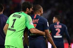Kylian Mbappe and Gianluigi Buffon