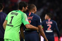 Kylian Mbappe and Gianluigi Buffon