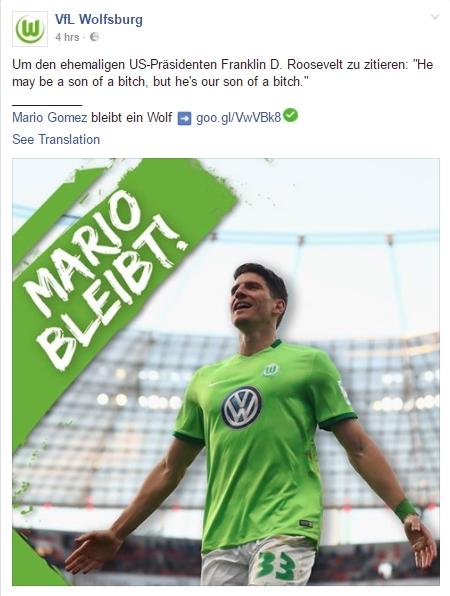 Wolfsburg's Gomez post