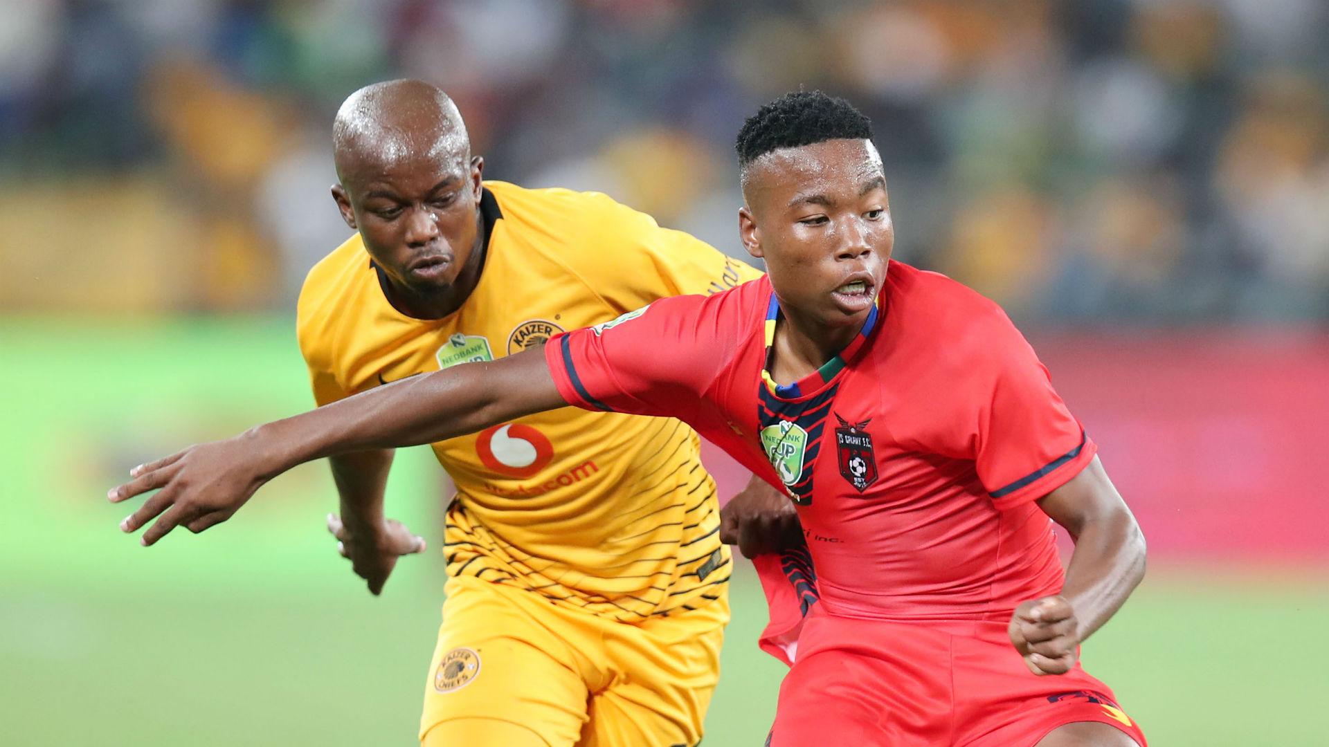 Tshegofatso Nyama of TS Galaxy challenged by Siphosakhe Ntiya-Ntiya of Kaizer Chiefs , May 2019