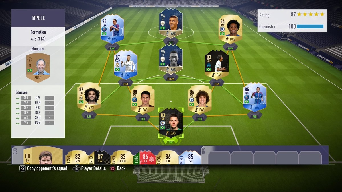 Pele's squad battle challenge, Ultimate Team