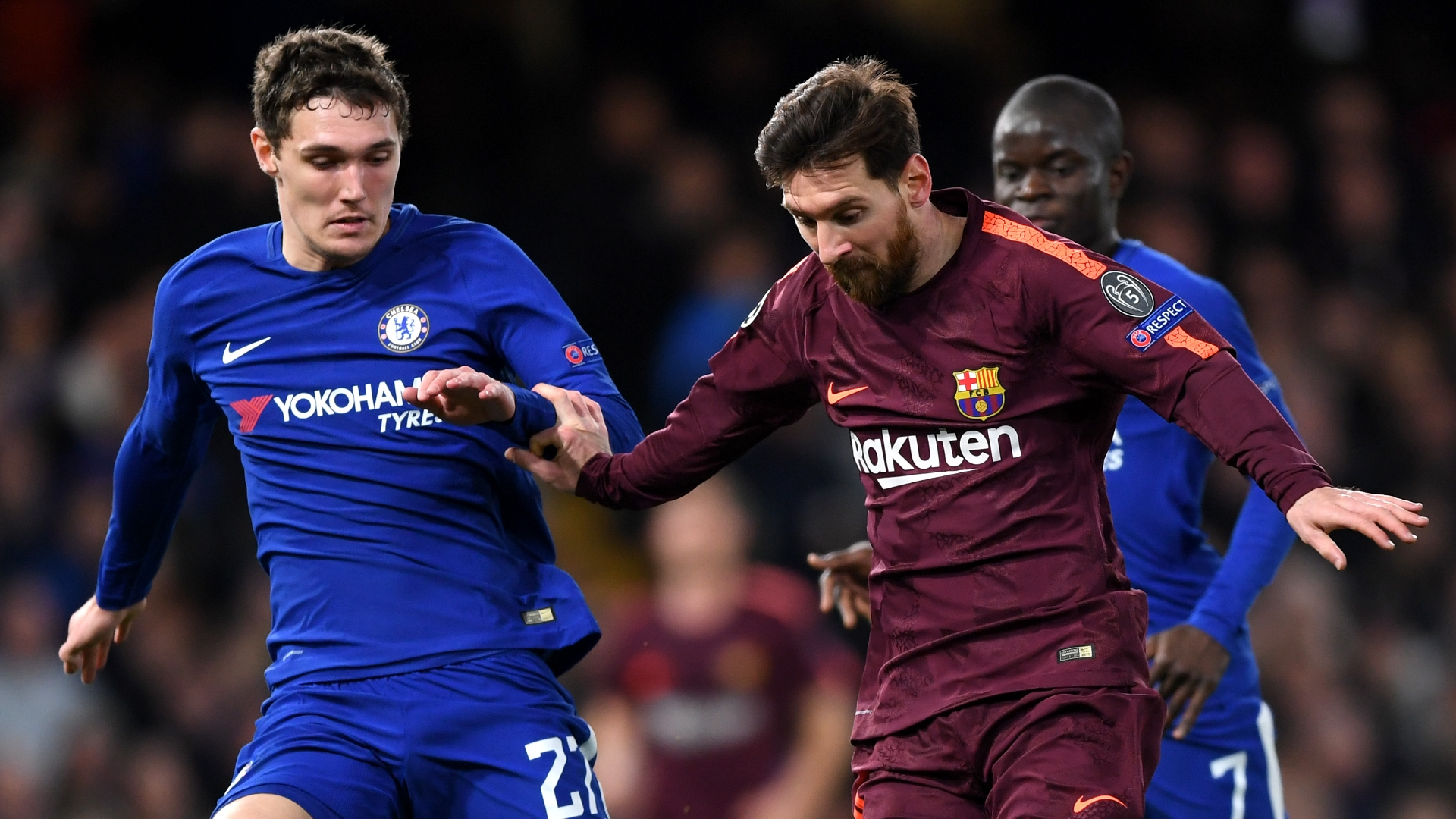 Andreas Chritensen, Lionel Messi, Chelsea vs Barcelona
