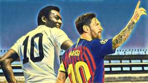 GFX Messi pelé Santos Barcelona 11 01 2019