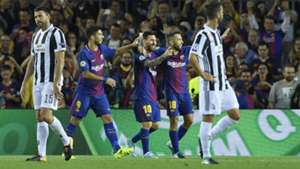 Barcelona celebrating vs Juventus Champions League