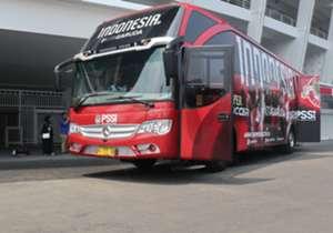 Warna merah yang mendominasi memberi nuansa timnas Indonesia yang kental.