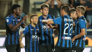 Atalanta players celebrating Atalanta Frosinone Serie A