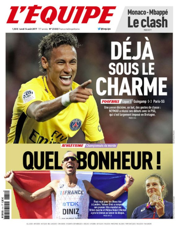 GFX EMBED Neymar L'equipe estreia PSG