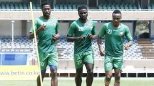 Masoud Juma Musa Mohammed and Cliftone Miheso of Harambee Stars.