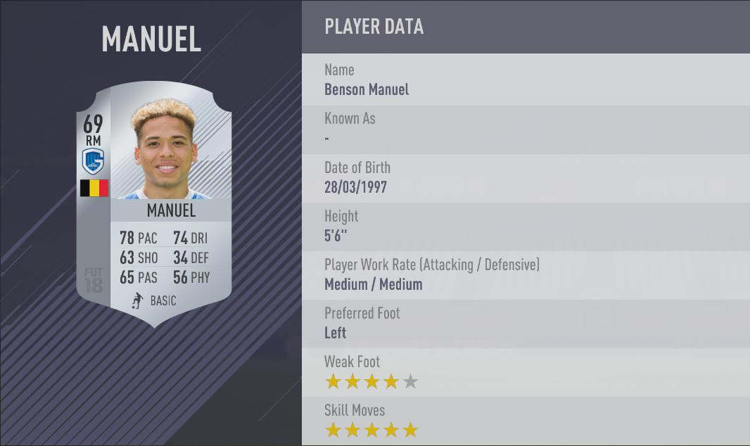 Benson Manuel FIFA 18 Skill Players