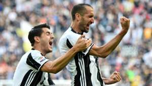 Alvaro Morata Giorgio Chiellini Juventus Serie A 05142016