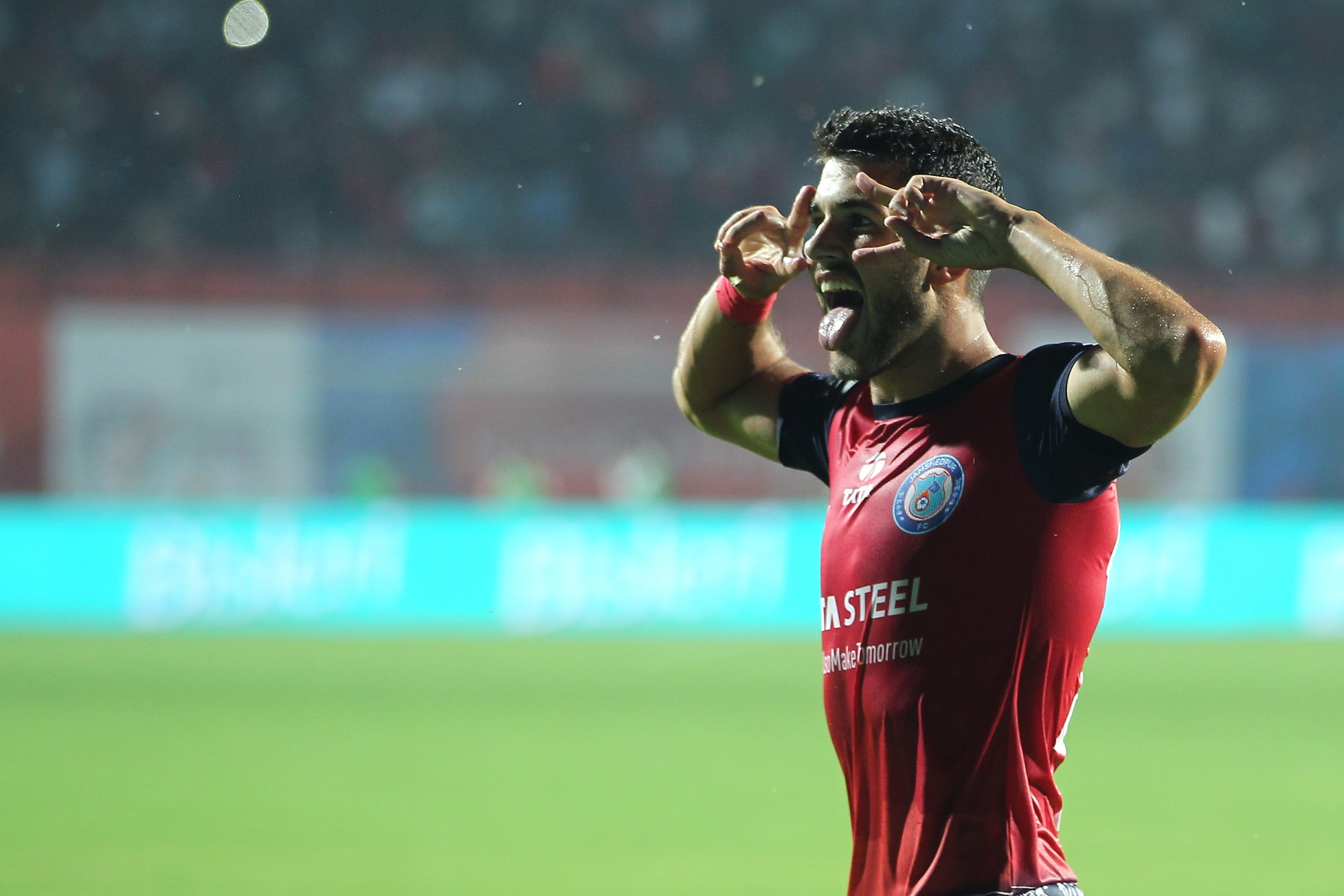 Jamshedpur player Sergio Cidoncha celebrates the goal against ATK the match in Hero ISL