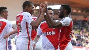 Monaco celebrating Monaco Toulouse Ligue 1 04292017