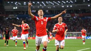 Cheryshev celebrates goal vs Croatia World Cup 2018