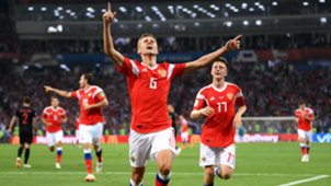 Cheryshev celebrates goal vs Croatia World Cup 2018