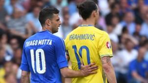 Thiago Motta Zlatan Ibrahimovic Italy Sweden Euro 2016
