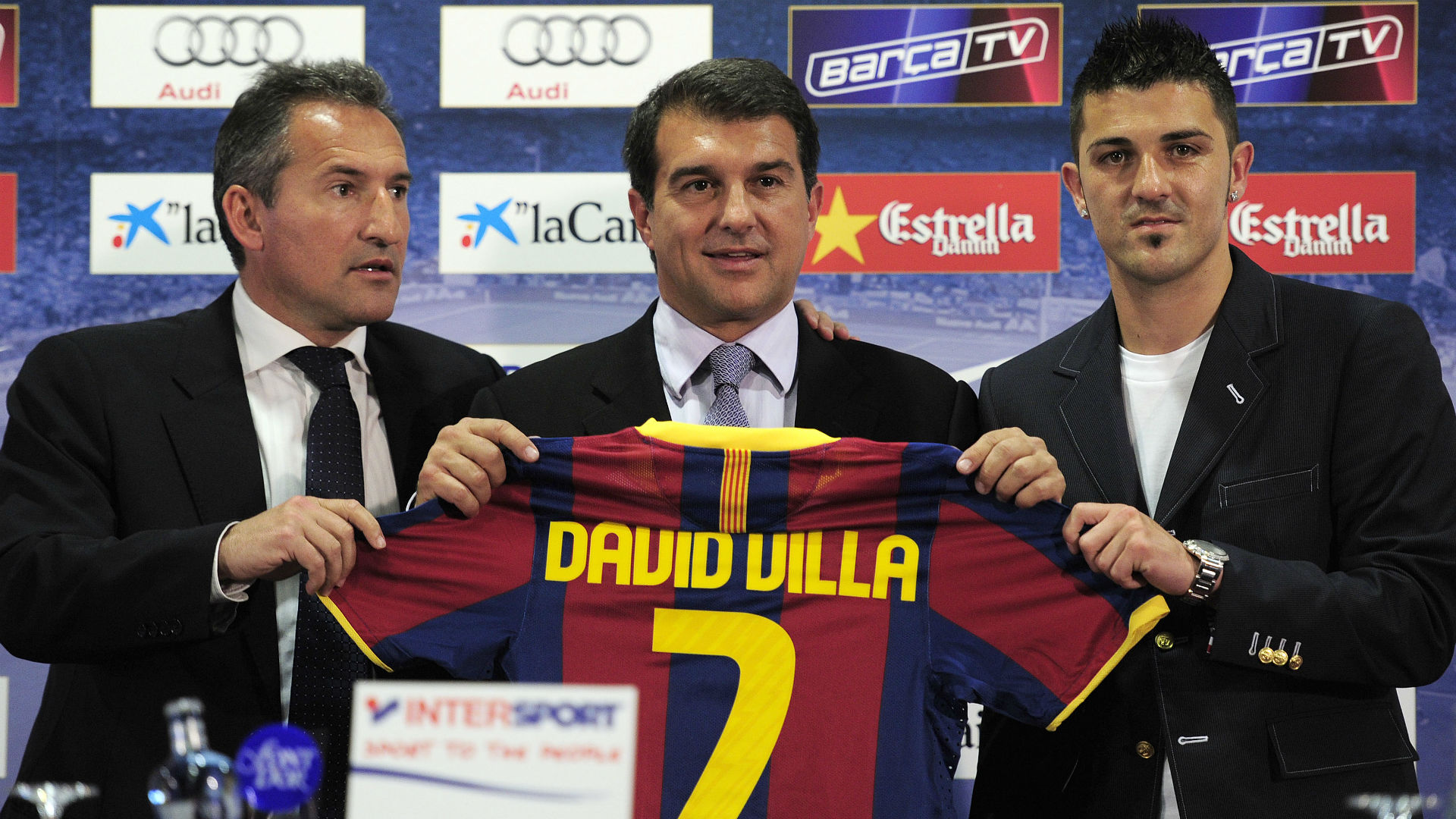 Txiki Begiristain Joan Laporte David Villa Barcelona