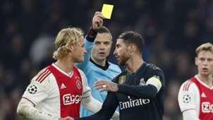 Sergio Ramos yellow card Real Madrid Ajax Champions League